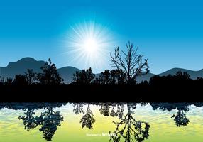 Bella scena del paesaggio con la riflessione dell'acqua vettore
