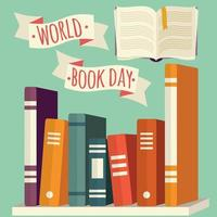 giornata mondiale del libro, libri sullo scaffale con banner
