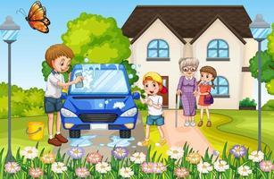 famiglia felice davanti alla casa vettore