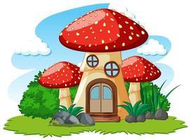casa dei funghi e un po 'di erba in stile cartone animato su sfondo bianco