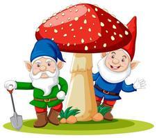 gnomi in piedi con il personaggio dei cartoni animati di funghi su sfondo bianco