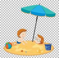 persone isolate in spiaggia estiva vettore