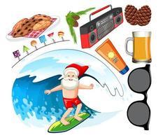 personaggio dei cartoni animati di Babbo Natale in spiaggia estate icona vettore