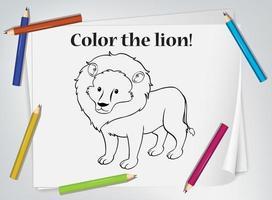 foglio di lavoro da colorare per bambini leone vettore