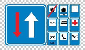 serie di segnali stradali blu isolato su sfondo trasparente