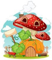 stile cartone animato casa zucca e funghi sullo sfondo del cielo