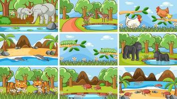 scene di sfondo di animali allo stato brado vettore