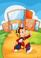 scimmia che corre da scuola