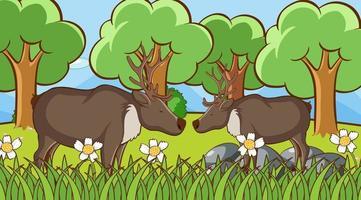 scena con cervi nel parco vettore