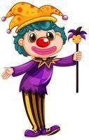 pagliaccio divertente che indossa la camicia viola che tiene la bacchetta magica vettore