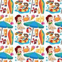 senza soluzione di continuità icona spiaggia estiva e bambini in stile cartone animato su sfondo bianco vettore