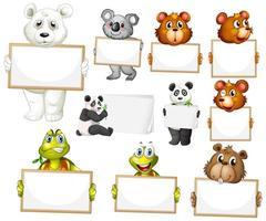 modello di segno in bianco con molti animali su sfondo bianco vettore