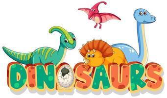 disegno del carattere per i dinosauri di parola con molti tipi di dinosauri su sfondo bianco