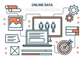 Icone di vettore di marketing online piatto gratuito