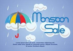 Vettore del manifesto di vendita della pioggia di monsone