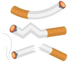 set di sigarette accese vettore