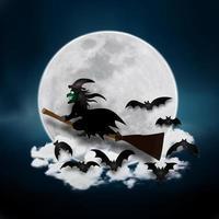strega che vola nel disegno del taglio della carta del cielo notturno