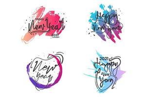 calligrafia del nuovo anno 2021 con pennellate colorate