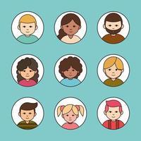 set di icone avatar di persone diverse vettore