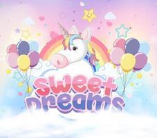 icona di unicorno su sfondo pastello magico