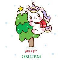 simpatico unicorno che abbraccia l'albero di Natale vettore