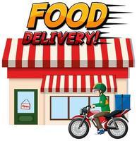 logo di consegna di cibo con corriere