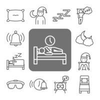 set di icone line-art qualità del sonno vettore