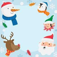 Babbo Natale e il suo design di sfondo del bordo aiutante vettore