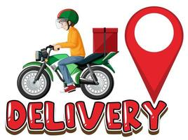 logo di consegna con uomo su scooter