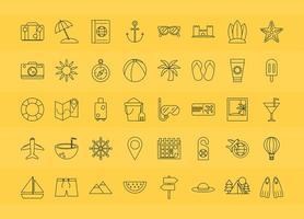 set di icone di viaggio e turismo vettore
