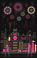 felice anno nuovo con fuochi d'artificio