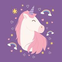 personaggio dei cartoni animati di unicorno magico con arcobaleni vettore