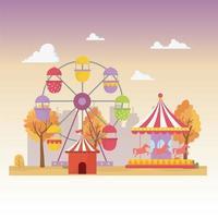composizione di ricreazione di luna park, carnevale e intrattenimento