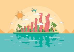 Vettore del paesaggio dell'isola di pasqua