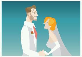 Vettore sorridente dello sposo e della sposa