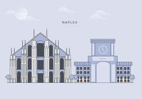 Vettore di punti di riferimento della città di Napoli