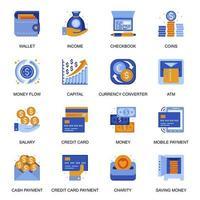 icone di transazione di denaro impostate in stile piano.