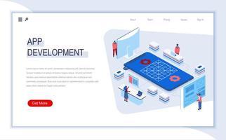 pagina di destinazione isometrica per lo sviluppo di app vettore