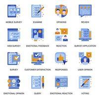 icone di sondaggio web impostate in stile piano. vettore