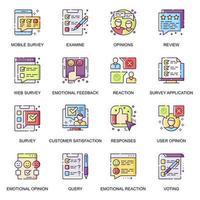 set di icone piane di sondaggio internet. vettore