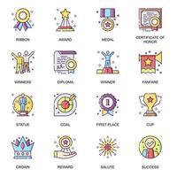 set di icone piane di successo personale.