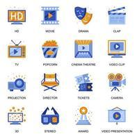 icone del cinema impostate in stile piatto. vettore