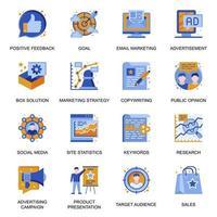 icone di strategia di marketing impostate in stile piatto. vettore