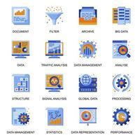 icone di analisi dei dati impostate in stile piatto. vettore