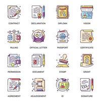 set di icone piane di documenti legali. vettore