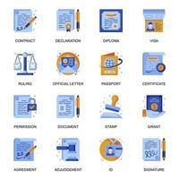 icone di documenti legali impostate in stile piano. vettore