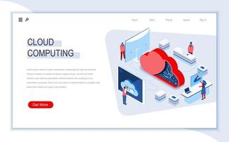 pagina di destinazione isometrica del cloud computing vettore