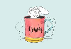 Citazione sveglia di lunedì dell'acquerello con la tazza di caffè