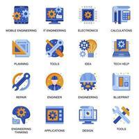 icone di ingegneria moderna impostate in stile piatto. vettore