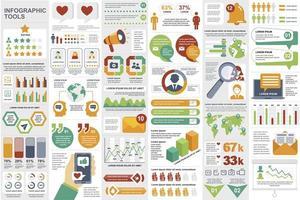 raggruppare elementi di infografica sui social media vettore